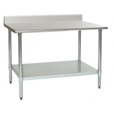 Eagle Group T2436EB-BS Deluxe Stainless Bench with Backsplash, Galvanized Bottom Shelf and Legs