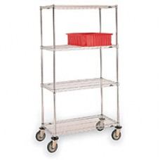 Metro 4-Shelf Brite Wire Cart, Metro 214863BR4-X Wire Cart