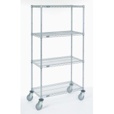 Nexel 4-Shelf C1836NZ Poly-Z-Brite Wire Shelf Cart