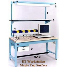 ProLine RT483030-FC-SD-M Solid Maple Top 6x6 Full Coverage Pop Up Ball Transfer Workbench